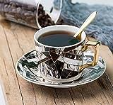 Set de tazas de café SEESEESEESEESEESUSU, juego de 1 taza de té de cerámica y platillo, 3 colores, 270 ml, negro