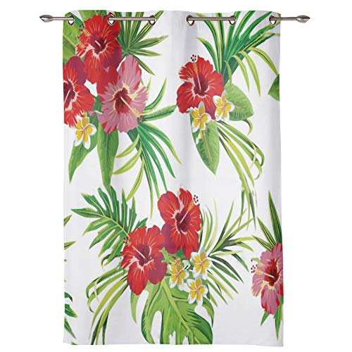 AM5CITY Kitchen Tier Curtains for Bedroom Living Room 24 Inches Long,Tropical, Artistic Rainforest Flower Sheer Curtains Grommets Window Drapes for Patio Door Bathroom Office Decor
