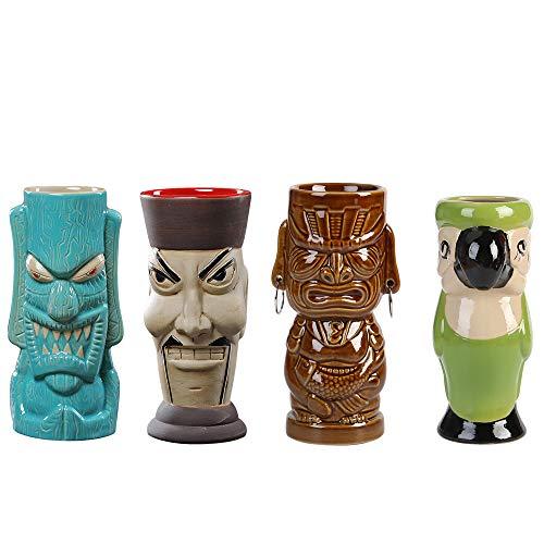 (14€/solo) Tiki Mugs Copa de cóctel Juego de 4 vasos de cóctel de cristal Tiki Mok de cóctel hawaiano, accesorios para bar, de cerámica, para cócteles
