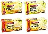 Teekanne Ingwer Tee Mix - Ingwer-Pur, Ingwer-Orange, Ingwer-Zitrone, Ingwer-Kurkuma (4x18 Beutel,...