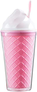 Bewaltz Ice Cream Double Wall To Go Cold Cup Tumbler with Straw BPA Free16 oz, Vacuum Insulated Travel Mug, Gifts Bridal Shower, Themed Party, party favors, Christmas Stocking Stuffer, Pink Cone