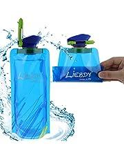 Liebdy® opvouwbare waterfles 700ml, BPA-vrij, met dop + haak, flexibele drinkzak voor sport, camping, wandelen, festival I blauw