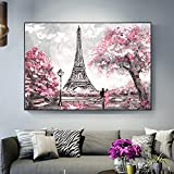 Geiqianjiumai Paris Street View Paris Tower Mural Lienzo Sala Mural Moderno póster e impresión decoración del hogar Pintura de Pared Pintura sin Marco 40x60cm