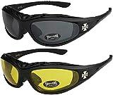 Choppers - Confezione da 2 occhiali da sole con rivestimento notturna notturni notte night vision Unisex Donna Uomo - 1x Modello 01 (nero / nero) e 1x Modello 03 (nero / giallo) - Modello 01 + 03 -