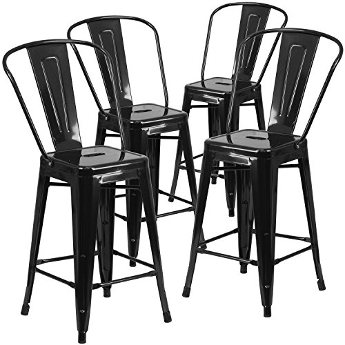 Flash Furniture Commercial Grade 4 Pack 24' High Black Metal Indoor-Outdoor Counter Height Stool with Removable Back