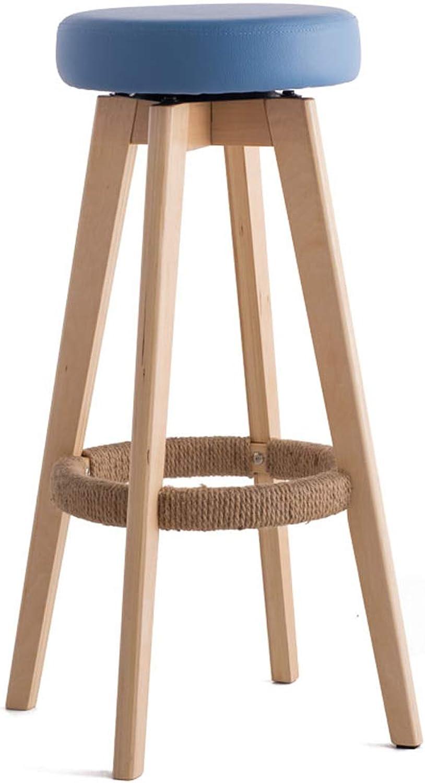 HLQW Bar Chair, Bar Chair, High Stand, Household Solid Wood Bar Stand, Modern Simple redary Creative European Chair, 74 cm High, 2