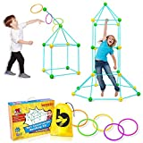 Kids Play Outdoor and Indoor Tents and Fort Building Kit, for Boys and Girls, 2 Fun Games in 1, STEM Playset Includes 58 Sticks, 32 Balls, 5 Toss Rings, Carrying Bag, Family Activity Time - Ages 5+