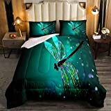 Feelyou Dragonfly Comforter Set Ultra Soft Dragonfly Print Duvet Cover for Kids Women Adults 3Pcs Lightweight Teal Dragonfly Bedding Set Nature Theme Home Decoration Quilted Duvet Set Turquoise Twin