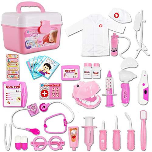 deAO Kinder-Rollenspielset für Zahnärzte, Chirurgen und Tierärzte, 30 Teile mit Licht und Ton, einschließlich elektronischem Stethoskop, Laborkappe und medizinischen Spielgeräten (Pink)