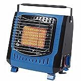 BKWJ Calentador para Acampar al Aire Libre, Calentamiento rápido, Calentador de Gas butano para Tienda, protección de Seguridad de 4 Pliegues, Calentador portátil con asa,Azul