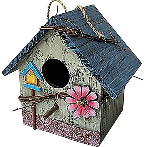 OMVOVSO Casas de Aves de Madera, Patio Villa Balcón Colgando Rainfest Birdhouses Madera Jardín Pájaros Aparatos de Intemperie Pájaros Naturales para Colgar en el jardín y balcón,3