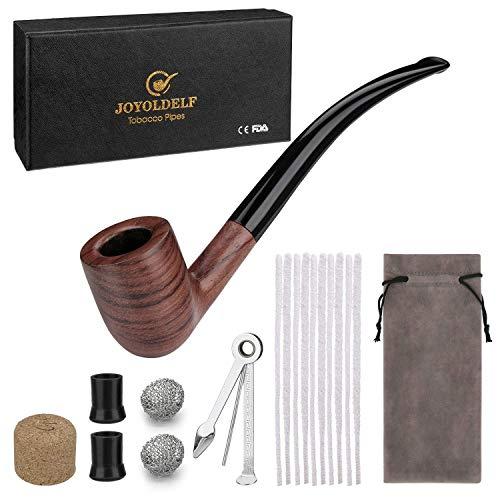 DIMJ Tabak Pfeifen Set,Holz Tabakpfeife mit Pfeifenreiniger - Rauchen Zubehör & mit Geschenkbox