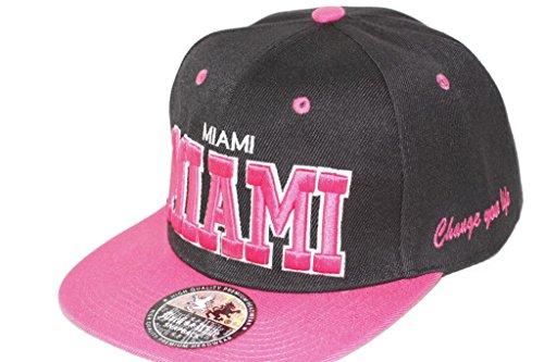 Hip Hop Casquette chapeau CITY SNAPBACK équipe ville américaine FS-413 (MIAMI-SCHWARZ-PINK-)