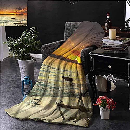 Searster$ Fleece Blanket Natur Hellrosa Decke Entfernte Insel Hügel Zweig Couch Bett Nickerchen Lesen Liege,102X127 cm (50X40 In)