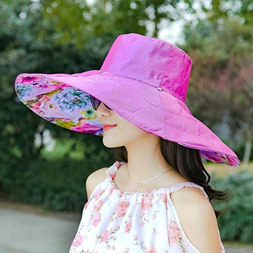 Axiba Chapeau de Soleil Chapeau été Dame Impression Grands Avant-toits Capuchon de Protection Solaire Plage visière Double pliée Chapeau Anti-UV