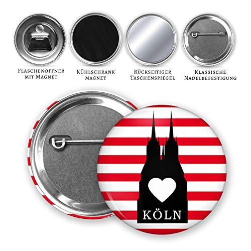 MeLifestyle Button 59mm Köln Rot Weiß Karneval Nadelanstecker Taschenspiegel Magnet Flaschenöffner