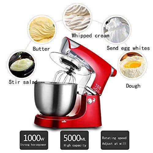 Rode keukenmixer, keukenmixer, 5 liter mengkom en spatbescherming, inclusief klopper, deeghaak, ballonklopper voor cake, beslag, brood, desserts