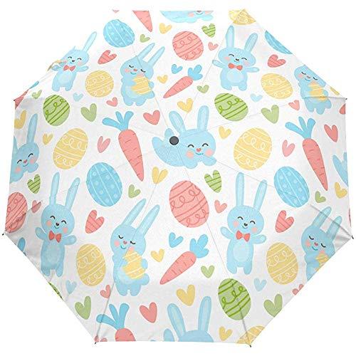Easter Day Cute Eggs Rabbit Auto Open Umbrella Zonneregenparaplu Anti-UV Opvouwbaar automatische paraplu