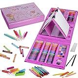 KINSPORY Juego de arte de caballete de doble cara de 208 piezas, kit de dibujo para colorear de pintura, estuche de manualidades para útiles escolares, regalo para niñas, niños, niños (rosa)