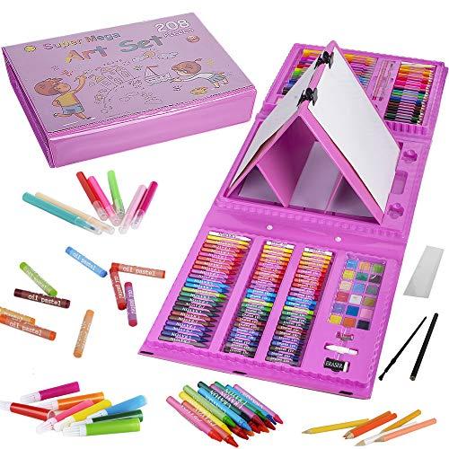 KINSPORY 208 pezzi set da disegno con cavalletto su entrambi i lati, matite pittura colorare valigetta colori per bambini, kit disegno professionale album acquarellabili materiale bambini (Rosa)