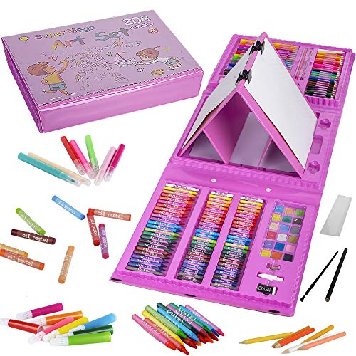 KINSPORY 208 PCS Kids Coloring Art Set Painting Drawing Supplies Kit, Markers, Oil Pastels, Crayons, Colour Pencils, Watercolour Cakes with Double Side Drawing Easel for Two Children Play - Pink