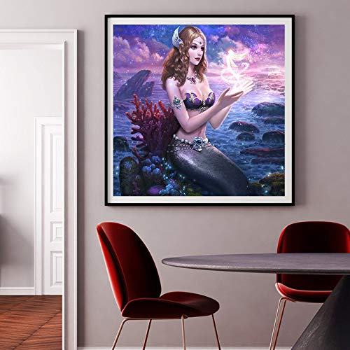 Arte moderno lindo sirena lienzo pintura hermosa fantasía océano decoración del hogar lienzo pintura carteles e impresiones60X60cm Sin marco