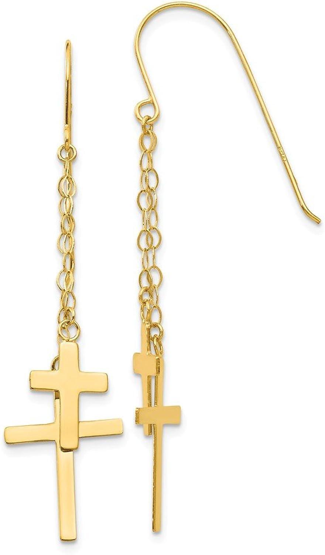 Beautiful Yellow gold 14K Yellowgold 14K Chain Dangle Cross Shepherd Hook Earrings