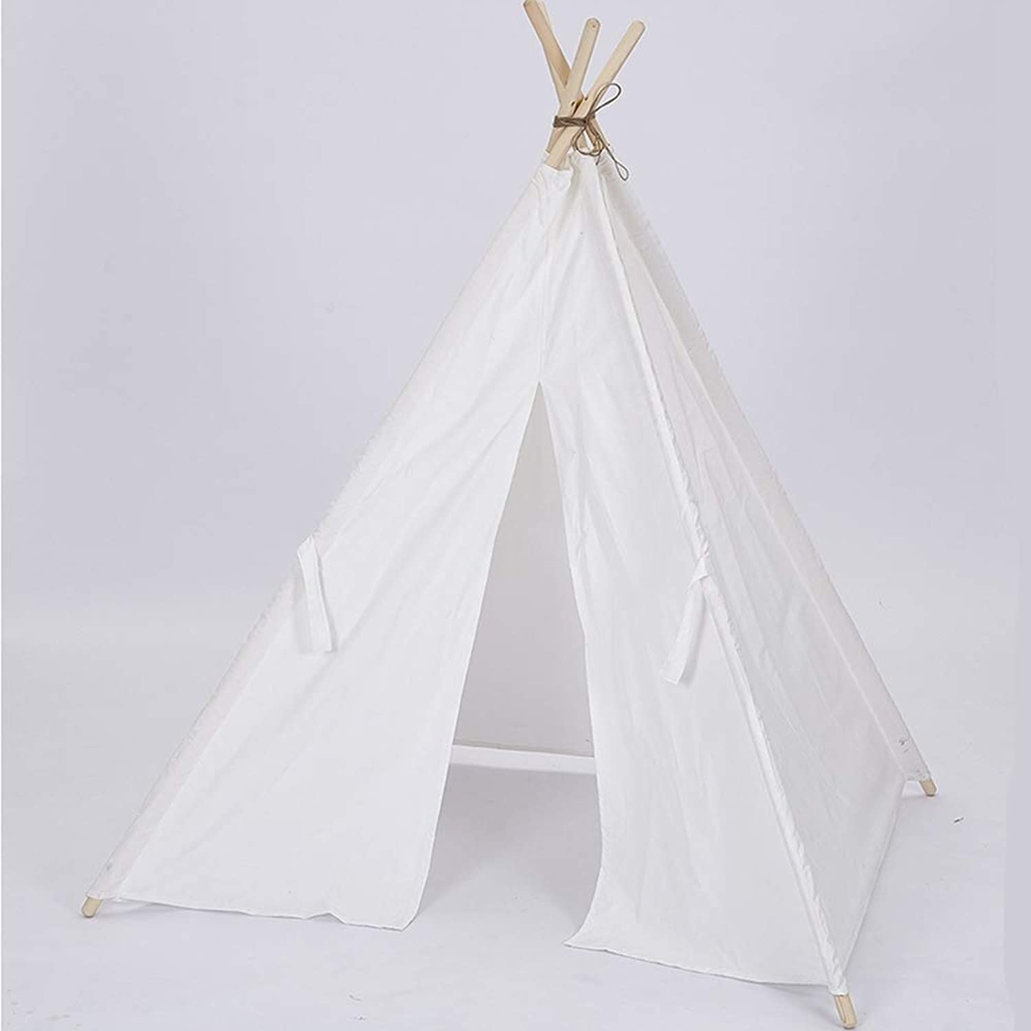 LIJIE Teepee Tent For Kids, Portable Indoor Outdoor Tent With For Boys & Girls,White 135cm Tall