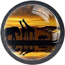 Giraffe met olifanten-silhouet [4 stuks] keukenknoppen - deurknop knop voor kast, ladeknop, deurknoppen, meubelknop