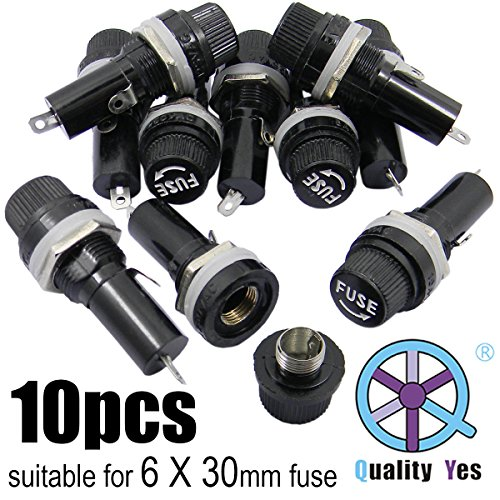 QY 10PCS Black AC 125V/15A 250V/10A Electrical Panel Mounted 6 X 30mm Fuse Holder Glass Fuse Tube Protector For Radio Auto Stereo