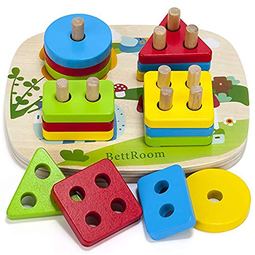BettRoom Toddler Toys 1 2 3 4-5 Years Old Boy And Girl Solid Wood Preschooler Shape Color Judgment Help To Recognize Geometry Building Blocks Stack Classification Puzzle Children Baby Non-Toxic
