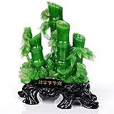 Estatua de Feng Shui de bambú de la suerte y la rana del dinero, atrae la riqueza y la buena suerte, Feng Shui decoración para oficina o hogar, verde