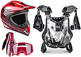 Adult Offroad Helmet Goggles Gloves Chest Protector Gear Combo Motocross ATV Dirt Bike RED Splatter (Medium)