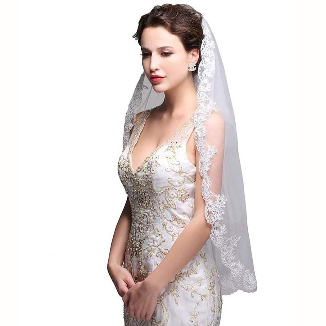 Aetorgc Women's Fingertip Length Bridal Wedding Veils Appliqued 1 Tier Veils Lace Soft Tulle With Comb Hair Accessories (Ivory)