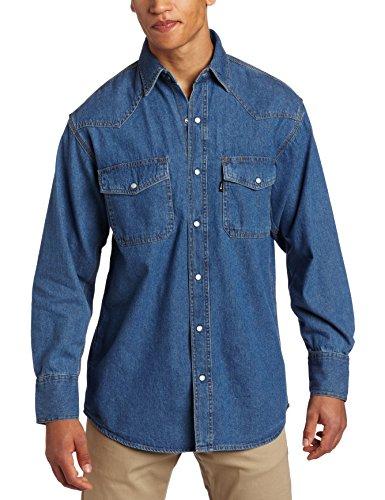 Key Industries Men's Long Sleeve Western Snap Denim Shirt Big, Large/Tall