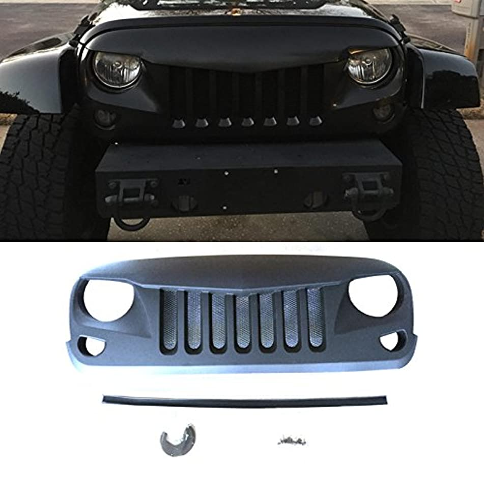 VioletLisa 1pc New Replacement Angry Eagle Eye Style Matte Black Front Main Upper/Hood Opening ABS Grille With Mesh Inserts For 07-16 Jeep Wrangler JK