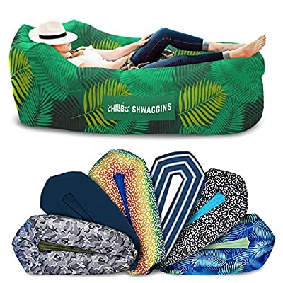 Chillbo Shwaggins Inflatable Couch – Cool Inflatable Chair. Upgrade Your Camping Accessories. Easy Setup is Perfect for Hiking Gear, Beach Chair and Music Festivals. (A Green Leaf)