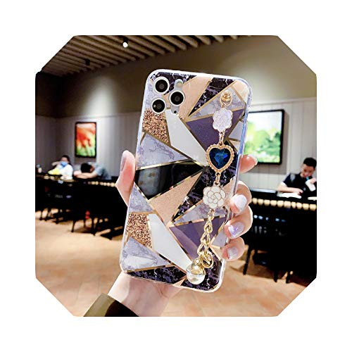 Luxury Splic Diamond Plating Marble Soft Phone Case for Apple iPhone 7 8 Plus X XS XR Max 11 Pro 12 Mini Gem Band Back Cover-with Bracelet-for iPhone 8 Plus