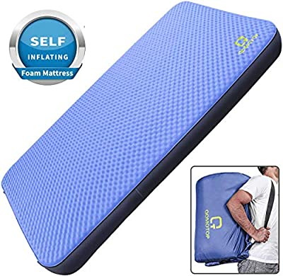 QOMOTOP Self-Inflating Camping Mattress, 80×52×4 Inches Double Size Auto-Inflation Camping Sleeping Air Pad, Portable Sleeping pad, Perfect for Backpacking and Camping