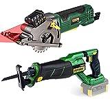 "TECCPO Mini Circular Saw, 4.8Amp 3-5/16"", Laser Guide, Compact Circular Saw & POPOMAN 20V Brushless Cordless Reciprocating Saw, 4.0Ah Battery & Fast Charger"