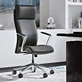 Modern Ergonomic Draper Genuine Leather Executive Chair with Aluminum Frame - Dark Grey
