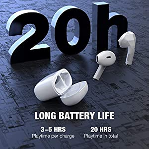 Wireless Earbuds, Conico Bluetooth 5.0 Earbuds with Deep Bass Hi-Fi Stereo Sound and Super Mini Charging Case 20H Playtime IPX6 Waterproof Half in-Ear Headsets with Built-in Mic for Work/Travel/Gym