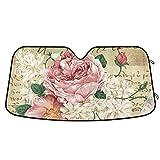 Vintage Rose Floral Car Windshield Sunshade Foldable Reflective Sun Shade Blocks UV Rays