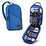 Camp Kitchen Cooking Utensil Set Travel Organizer Grill Accessories Portable Compact Gear for Backpacking BBQ Camping Hiking Travel Cookware Kit Water Resistant Case (Blue 13 Piece Set)