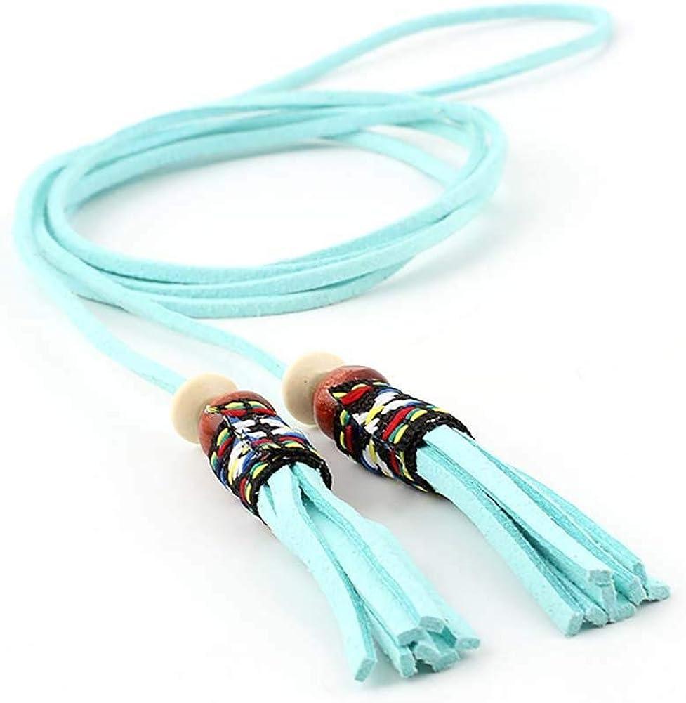 Leono Women's PU Leather Belt Skinny Ladies Belt Lengthening Tassel Adjustable Waist Belt for Dress Jean Pant