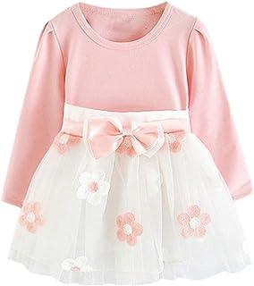 Unbekannt LUCKME Kleider für Mädchen Kinder Baby Mädchen Langarm Blumen Blumen Prinzessin Kleid T-Shirt Kleidung Set Kinder Kleider Mädchen Blume T-Shirt