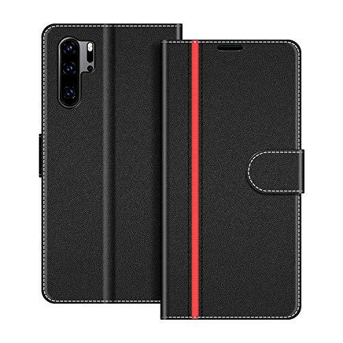COODIO Handyhülle für Huawei P30 Pro Handy Hülle, Huawei P30 Pro Hülle Leder Handytasche für Huawei P30 Pro / P30 Pro New Edition Klapphülle Tasche, Schwarz/Rot