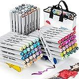 Arrtx OROS 90 Colores Rotuladores, Marcadores doble punta pincel y cincel permanentes con bolsa única portátil, para niños, estudiantes, artistas, colorear, bocetos, ilustración, diseño, anime