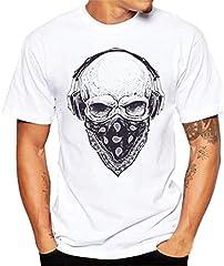 LHWY Camiseta De Manga Corta con Estampado De Calaveras para Hombre Blusa Atractiva Y Fresca De La Camiseta Verano