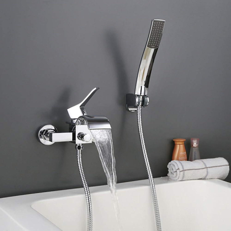 XHCP Waschtischarmatur Waschbecken Wasserhahn - Wasserfall Chrom Wandmontage Zwei Lcher Einhand Zwei Lcher Badarmaturen Messing